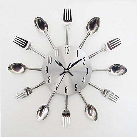 ryadia (TM) populares reloj de tenedor y cuchillo acero inoxidable diseño moderno, color plateado Cubiertos Utensilios de cocina reloj de pared cuchara ...