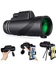Monoculaire telescoop, 80 x 100 High Power HD monoculaire HD monoculair met smartphonehouder en statief, waterdicht, monoculair met voor vogelobservatie, camping, wandelen, reizen, jacht