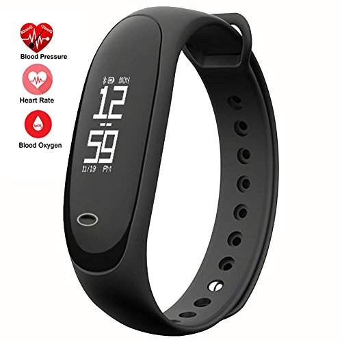 feifuns Fitness Tracker,Smart Watch with Blood Pressure Heart Rate Sleep Pedometer Camera remote Shoot Blood Oxygen Monitor Smart Wristband Bracelet READ for Bluetooth Andriod and ios (Black) by feifuns