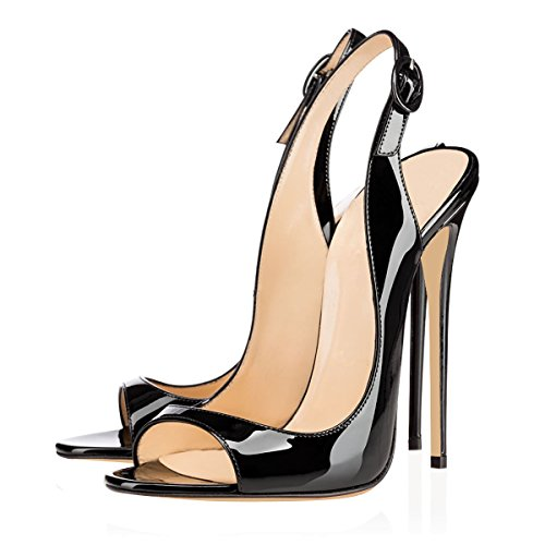 Eldof Womens High Heel Sandals| Open Toe Slingback 12cm Pumps | Classic Wedding Dress Shoes Patent Leather Black 2O4BYQX
