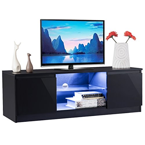 Tangkula TV Stand Modern High Gloss Media Console Storage Cabinet Entertainment Center with LED Light, Shelves, and Cabinets (Black) (Modern High Gloss)