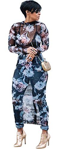 - Recious Womens Sexy Long Sleeve Turtleneck Floral Printed See-Through Bodycon Party Clubwear Dress, Blue, X-Large