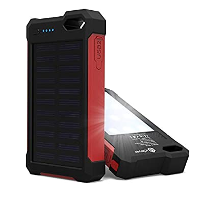 [Solar Battery Charger] iClever IC-SB21R 10000mAh Portable Solar Power Bank Dual USB Port Charger Battery with Led Light, IP67 Waterproof Solar Charger for iPhone, iPad, iPod, Samsung, Android phones