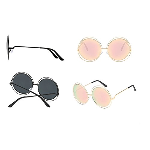womens mens soleil Gold Round de Case Glasses for grey Zhhaijq lunettes des with metal frame sunglasses all zq8xf