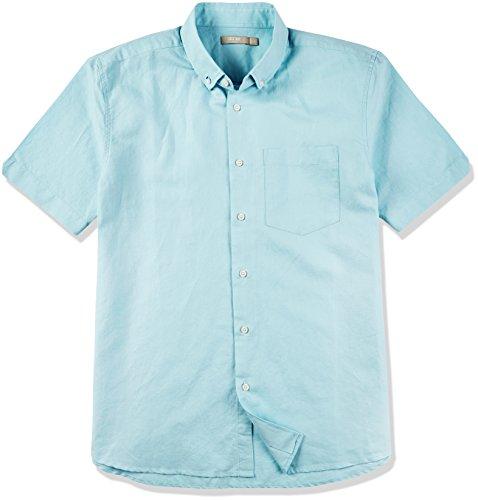 Isle Bay Linens Men's Short Sleeve Toile Woven Standard Shirt Grey Green - Linen Cotton Woven