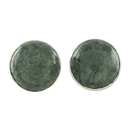 NOVICA Light Green Jade and .925 Sterling Silver Round Stud Earrings, Harmonious Peace' (10mm) ()