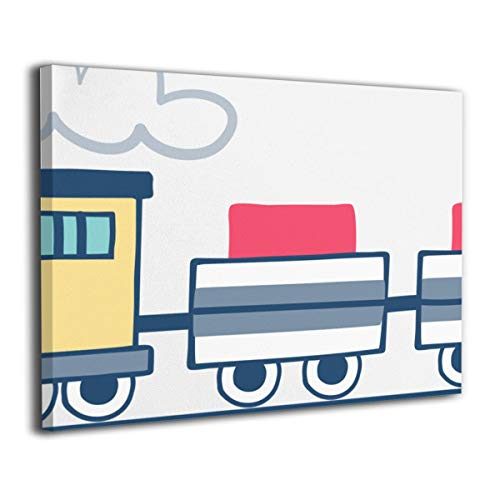 - Henry Huxley Wall Art Painting Picture for Living Room Couch Home Bedroom Decoration Locomotive Train Modern Framed Artwork 16x20in