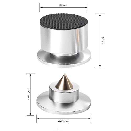 Douk Audio Nobsound 4PCS Aluminium Black & silver Shockproof Spike+Pad Isolation Stand HiFi Amplifiers (Silver) by Douk Audio (Image #5)
