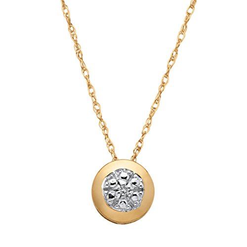 (10K Yellow Gold Genuine Diamond Accent Slide Pendant (6mm) with 18 inch Chain)
