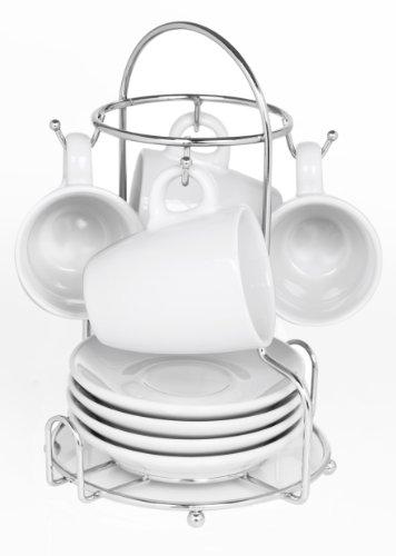 IMUSA USA A120-22171 Espresso Coffee Cup Set with Rack 8-Piece, White