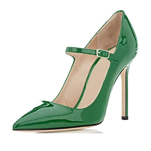 (Sammitop Women's Mary Jane Pumps Ladies Sexy High Heeled Shoes Green US7)