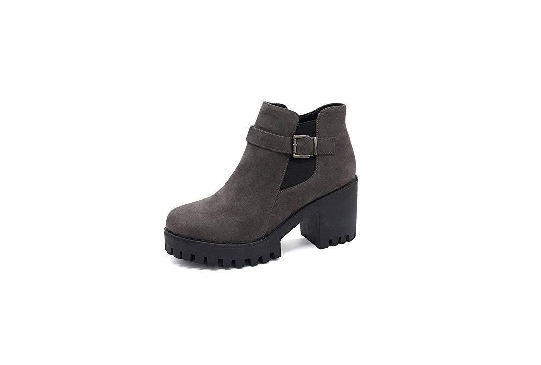 Qiusa High Heels Dicker Absatz Stiefel Stiefel Stiefel Martin Stiefel England seitlicher Reißverschluss mit dickem Absatz (Farbe   Grau, Größe   35) e1deb6