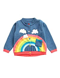 KONFA Teen Toddler Baby Boys Girls Winter Clothes,Rainbow Clouds Knitted Cardigan Sweater Warm Pullover Tops