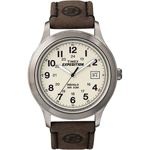 (Timex Men's 'Expedition Metal Field' Quartz Brass and Leather Casual Watch, Color:Brown (Model: T49870))