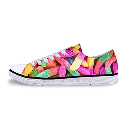 whsplaza Casual Sneakers 3D Printed Colorful French Fries Pattern for Women Canvas Shoes Low Cut Lace up Comfortable for Men.]()