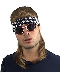Mullet Wig, Bandana & Sunglasses: Redneck Costume, Halloween 80s Wig , Mullet Wig for Men Women (Brown Mullet Wig, USA Bandana, USA Sunglasses)