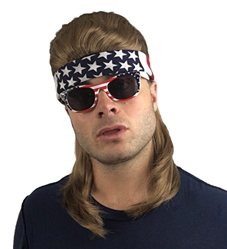 4 pc. Mullet Wig + Bandana + Sunglasses: Hillbilly Redneck Costume, Halloween 80s Wig , Mullet Wig For Men Women or Kids (Brown Mullet Wig + USA Bandana + USA Sunglasses) ()