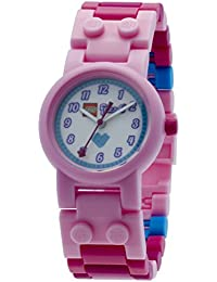 LEGO Friends Stephanie Kids Buildable Watch with Link Bracelet and Minifigure | pink/white | plastic | 28mm case diameter| analog quartz | boy girl | official