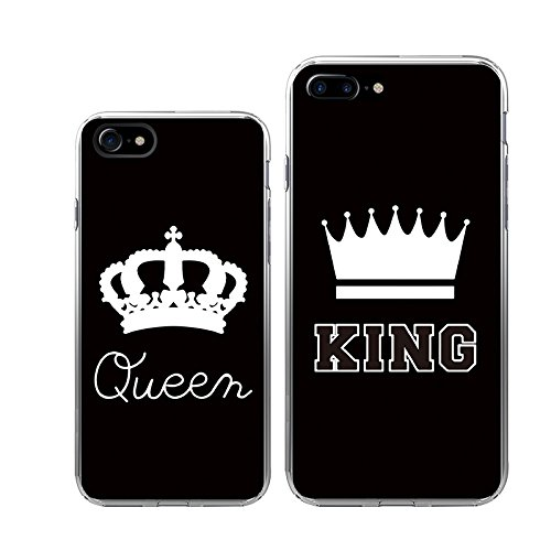 sale retailer abf23 76c90 iPhone7+7Plus Couple Case-TTOTT 2x Slim Bumper Floral Unique King Queen  Crown Best Friend BFF Lovers Matching Couple Cover Case[Left for iPhone7  Right ...