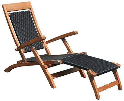 Teak Wood Narmada Outdoor Patio Steamer Chair with Dark All-Weather Webbing