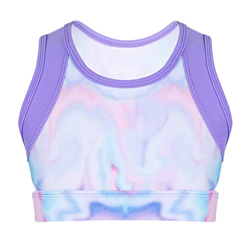 FEESHOW Kids Girls Uni-Corn Tie-Dye Sports Bra Gymnastics Ballet Dance Crop Top Dancewear Costumes Purple 12-14 ()