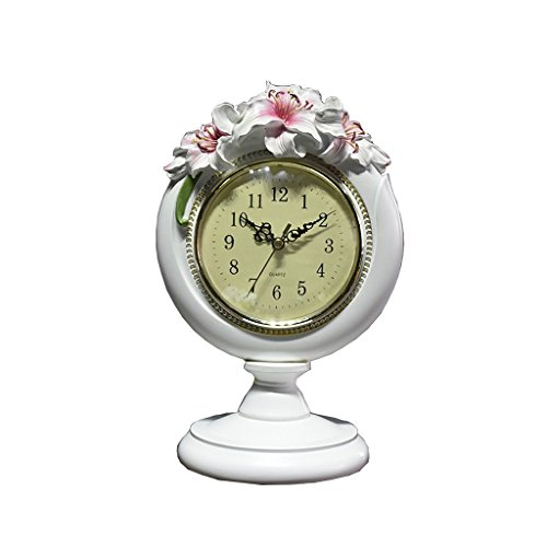 ZAZAZA Health UK Clock- Clock Creative Fashion Cute Mute White Lily Flower Resin Carving Table Clock With Arabic Numerals Welcome (Color : White) by ZAZAZA