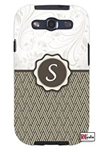 Monogram Initial Letter S Unique Quality Soft Rubber TPU Case for Samsung Galaxy S3 SIII i9300 - White Case