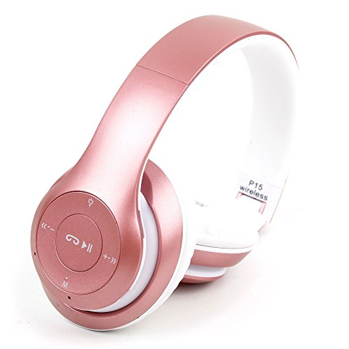 DURAGADGET Rose Gold Wireless, Foldable Headphone Headset with FM Radio and Mic for Nokia 1, 6 (2018), 7 Plus & 8 Sirocco