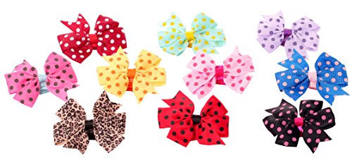 [HONEYJOY 10PCS Cute Girls Bow Hairband Hair Tie Cute Dot Chiffon Holder] (Jewelled Rosette)