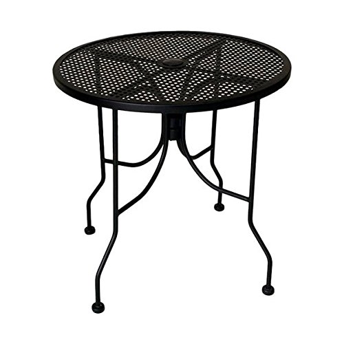 American Tables & Seating ALM36 Outdoor Table, Round Mesh Top with Umbrella Hole, Powder Coat, 36'' Diameter, 29'' Height, Black by American Tables & Seating