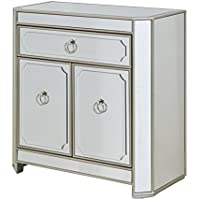 Treasure Trove Accents 17228 One Drawer Two Door Cabinet, Mirrored
