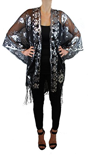Womens Mother of the Bride Beaded Fashion Shawl Tunic Poncho Cover One Size Top (Black/Silver)