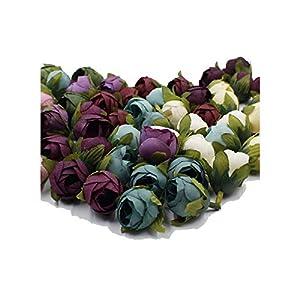 Luccaful 10pcs / Batch 2cm Wedding Party Home Decoration Wreath DIY Scrapbooking Crafts Small Artificial Tea Rose Bud Silk Flower Head 32