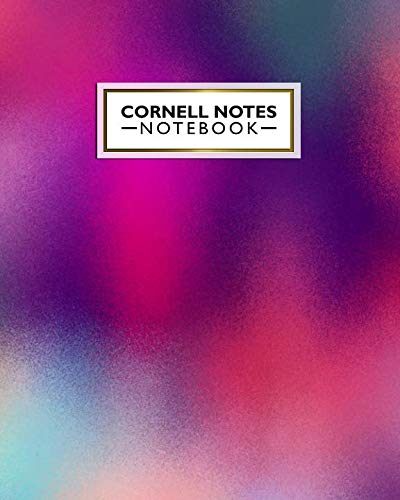 Cornell Notes Notebook: Cute Large Cornell Note Paper Notebook. Nifty College Ruled Medium Lined Journal Note Taking System for School, College & University - Funky Gradient Colorful Print For Girls