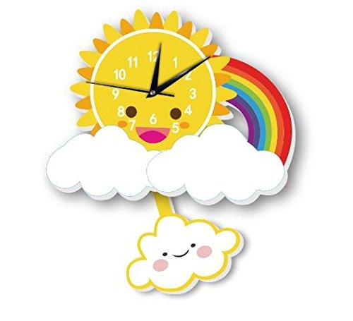 INS Sun Rainbow Wall Clock Wall Background Cartoon Wall Bell Slient quartz clock (5) by Sportskindom (Image #9)