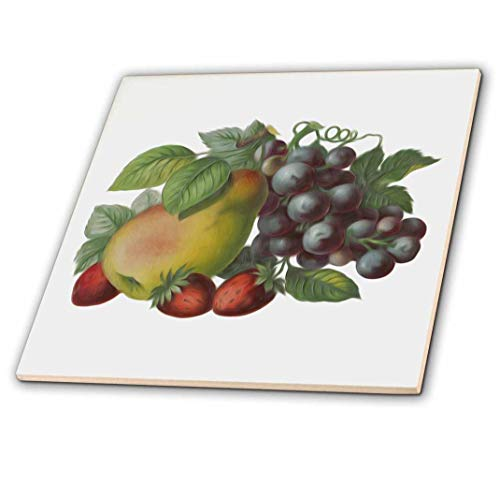 (3dRose Vintage Victorian Fruit Illustration Blueberries Pear and Strawberries - Ceramic Tile, 4-Inch (ct_104685_1))