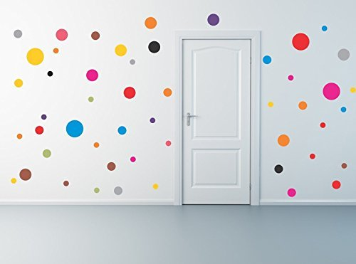 CHSGJY New Fashion Colorful 50 Polka Dot Wall Decals Removable Stickers Decor Mural Nursery Children Kids DIY Decorations