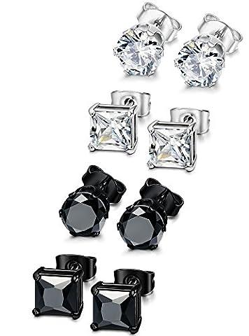 Jstyle 4 Pairs Stainless Steel Mens Womens Stud Earrings Cubic Zirconia Piercing 22G 8mm - Ear Piercing Stud