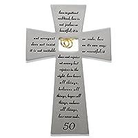 "Roman 50th Wedding Anniversary ""Love Never Fails"" Wall Cross"