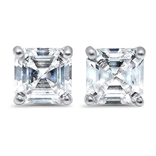 14k White gold Asscher Forever ONE colorless Moissanite earrings solitaire stud earrings