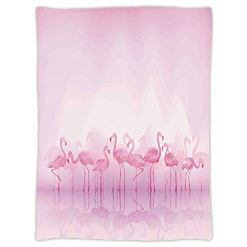 Super Soft Throw Blanket Custom Design Cozy Fleece Blanket,Flamingo,Flock Of Caribbean Flamingos Over Lake And Birds Abstract Dreamy Reflection Print,Light Pink,Perfect for Couch Sofa or Bed
