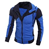 Clearance! Men's Autumn Winter Leisure Sports Cardigan Zipper Sweatshirts Tops Jacket Coat (L, Blue-1)