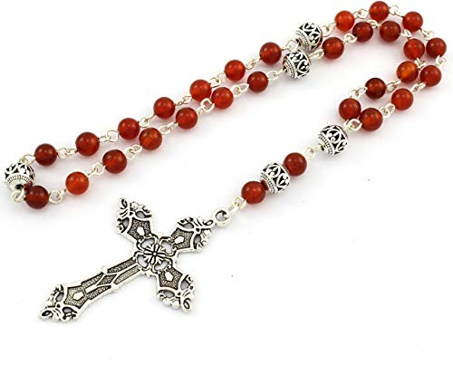 Protestant Anglican Prayer Beads/Rosary with Red Carnelian Gemstones and Silver Plated Cross
