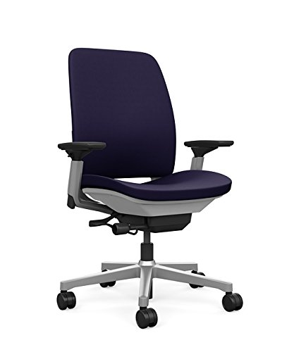 Steelcase Amia Task Chair: Platinum Frame/Base - 4 Way Adjustable Arms - Standard Carpet Casters (Flex Steel Chair Swivel)