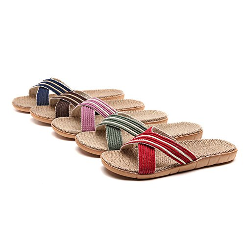 Purple Beach HRFEER Flat Shoes Men Slippers Summer Breathable Flax Women Sandals Unisex for Lightweight fxqOfrAP