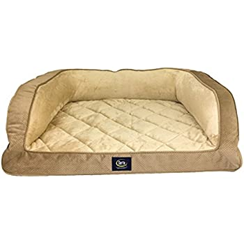 Amazon.com : Serta Ortho Quilted Couch Pet Bed, Large, Tan