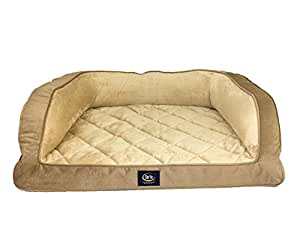 Amazon Com Serta Ortho Quilted Couch Pet Bed Large Tan Pet Supplies