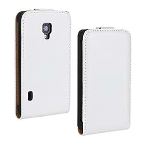 LG Optimus L7 II Case, iCoverCase Crazy Horse Pattern PU Leather Case [Vertical Flip] Cover [Up-Down Flip] Phone Shell for LG Optimus L7 II Dual P715 (White)