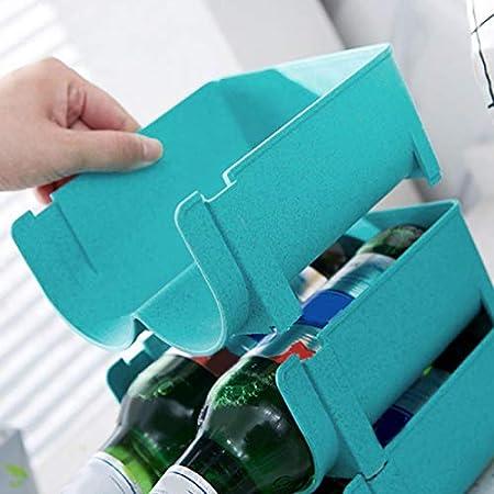 HERCHR Soporte para Botellas de Vino y Otras Bebidas, Botellero Apilable para 2 Botellas Botellero para Nevera o vinoteca para Botellas de Agua y Refrescos, 16 x 14 x 7.5 cm(Verde + Azul)