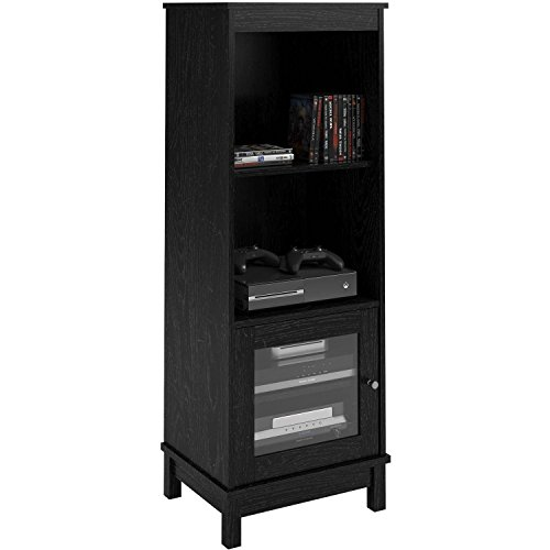 Contemporary Clean Line Aesthetics Media Storage Bookcase with Sliding Glass Doors & Integrated Wire Management (Black Oak)